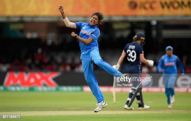 India bowler Jhulan Goswami celebrates after dismissing Fran Wilson during the ICC Women's World Cup 2017 Final between England and India at Lord's...