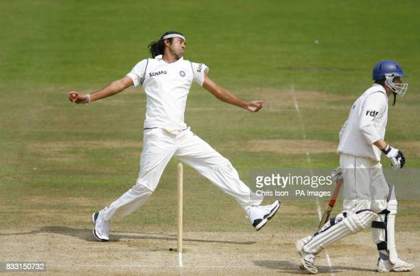 India bowler Ranadeb Bose in action against Sussex on the final day of the Tour Match at The County Ground Hove Sussex