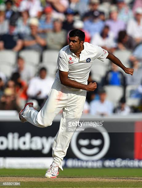 India bowler Ravichandran Ashwin in action during day one of the 4th Investec Test match between England and India at Old Trafford on August 7 2014...