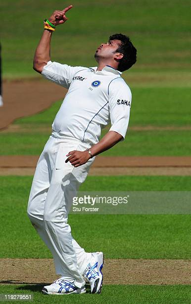 India bowler Shanthakumaran Sreesanth celebrates the wicket of Arul Suppiah during day one of the tour match between Somerset and India at the county...