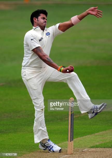 India bowler Shanthakumaran Sreesanth in action during day one of the tour match between Somerset and India at the county ground on July 15 2011 in...