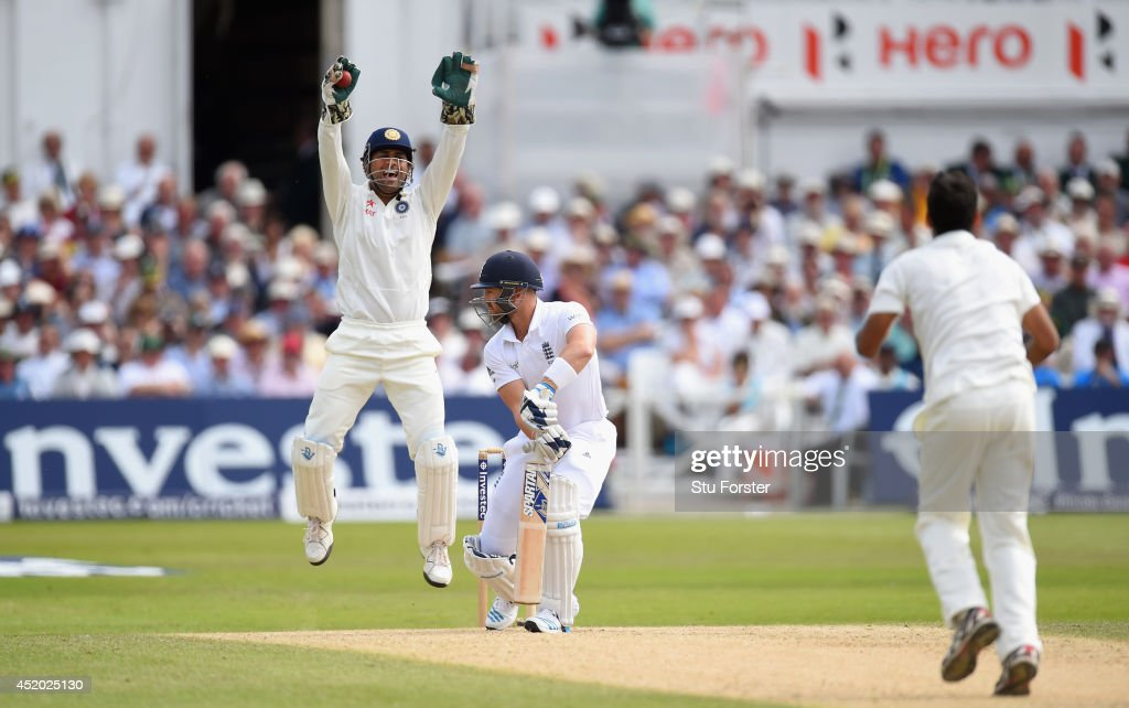 India captain Mahendra Singh Dhoni appeals with success for the wicket of England batsman Matt Prior off the bowling of Bhuvneshwar Kumar during day three of the 1st Investec Test Match between England and India at Trent Bridge on July 11, 2014 in Nottingham, England.