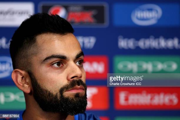 India captain Virat Kohli chats to media during the ICC Champions Trophy India Press Conference on May 25 2017 in London England