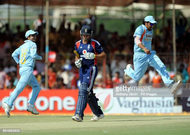 India celebrate after England's Owais Shah is caught behind by Virender Sehwag during The First One Day International at Madhavrao Scindia Cricket...
