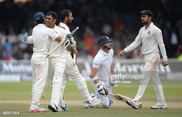India celebrate running out James Anderson of England to win the 2nd Investec Test match between England and India at Lord's Cricket Ground on July...