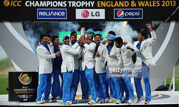 India celebrate their victory with the Champions Trophy after the ICC Champions Trophy Final match between England and India at Edgbaston on June 23...