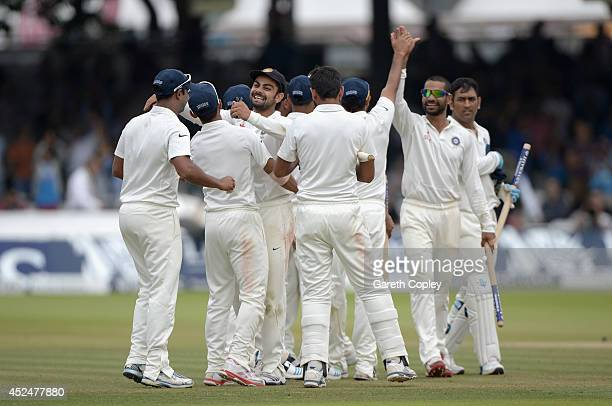 India celebrate winning the 2nd Investec Test match between England and India at Lord's Cricket Ground on July 21 2014 in London United Kingdom