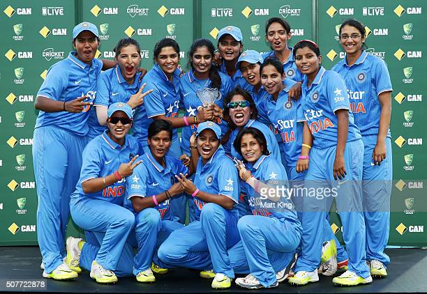 India celebrate with the winners trophy after the series win during the International Twenty20 match between Australia and India at Sydney Cricket...