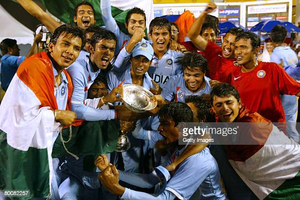 India celebrates after winning the World Cup during the ICC U/19 Cricket World Cup Final match between India and South Africa held at the Kinrara...
