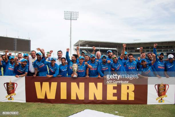 India celebrates their victory and winning of the series after finishing the fifth One Day International match between West Indies and India at the...