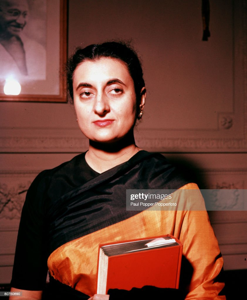 India Circa 1950's A portrait of Indira Gandhi the daughter of Indian Premier Jawaharlal Nehru and Prime Minister of India 196677 and 198084