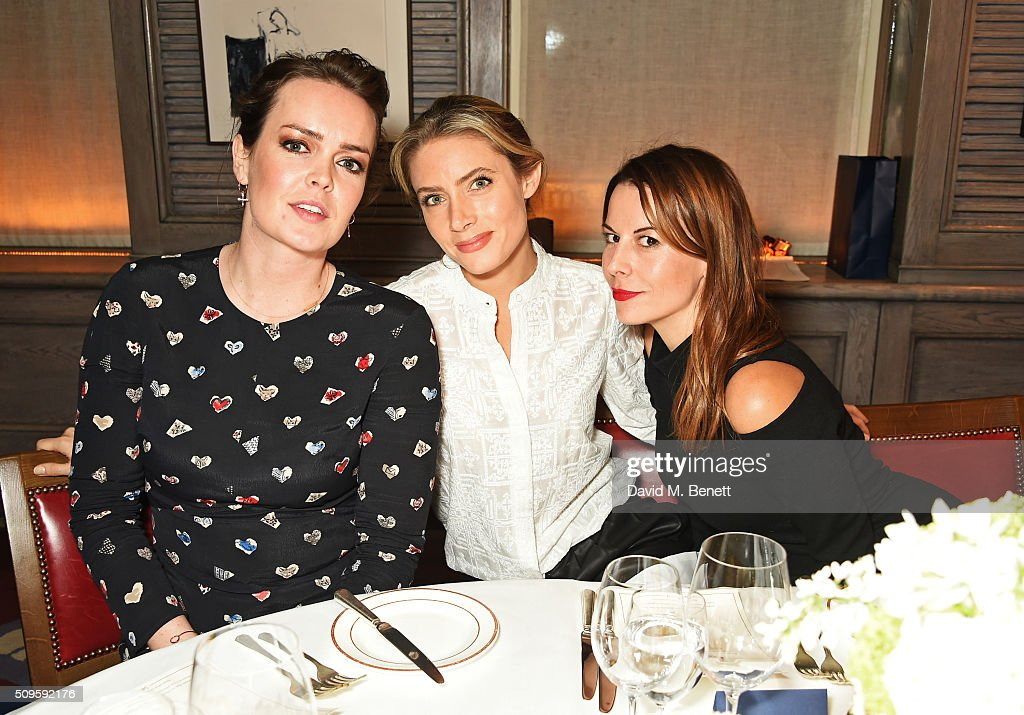 India Clark, Lucinda Edwards and Juliet Clark attend a private dinner celebrating the APM Monaco flagship store opening at 34 Grosvenor Square on February 11, 2016 in London, England.