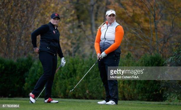 India Clyburn and Alice Hewson are seen on a tee box during Curtis Cup practice at Quaker Ridge GC on November 22 2017 in Scarsdale New York