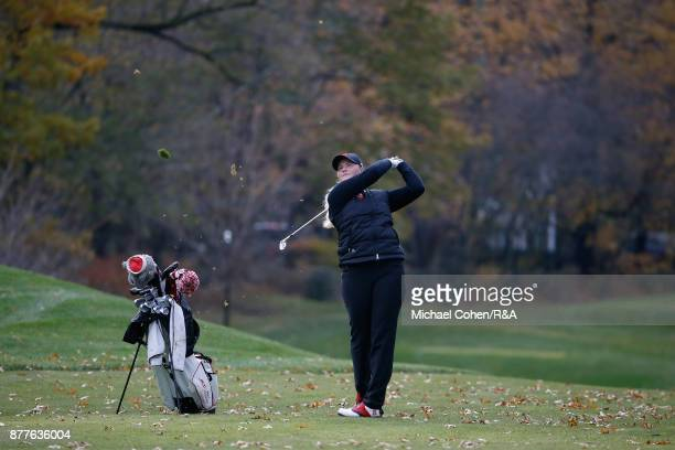 India Clyburn hits a shot during Curtis Cup practice at Quaker Ridge GC on November 22 2017 in Scarsdale New York