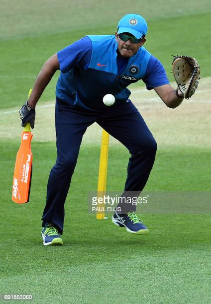 India coach Anil Kumble takes part in a training session at Edgbaston cricket ground in Birmingham on June 3 ahead of the ICC Champions Trophy...