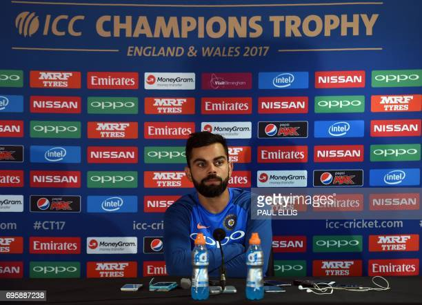 India cricket captain Virat Kohli attends a press conference at Edgbaston cricket ground in Birmingham on June 14 ahead of the ICC Champions Trophy...