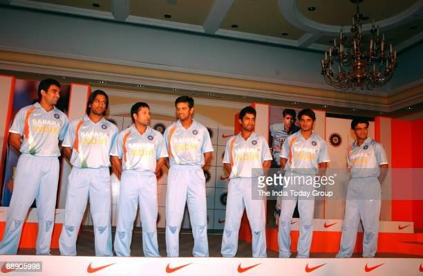 India Cricket Players Zaheer Khan Mahendra Singh Dhoni Sachin Tendulkar Rahul Dravid Dinesh Karthick Shanthakumaran Sreesanth and Saurav Ganguly pose...