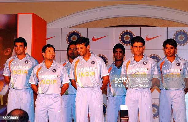 India Cricket Players Zaheer Khan Sachin TendulkarMahendra Singh Dhoni Rahul Dravid Dinesh Karthick Sourav Ganguly and Shanthakumaran Sreesanth pose...