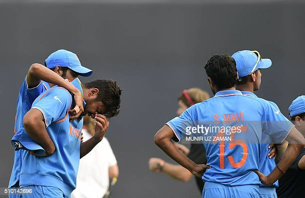 India cricketer Avesh Khan reacts after losing the Under19 World Cup cricket final between India and West Indies at the The ShereBangla National...