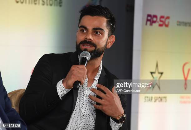India Cricketer Virat Kohli addresses the media during a press conference to announce the 'RPSG Indian Sports Honours' awards in New Delhi on...