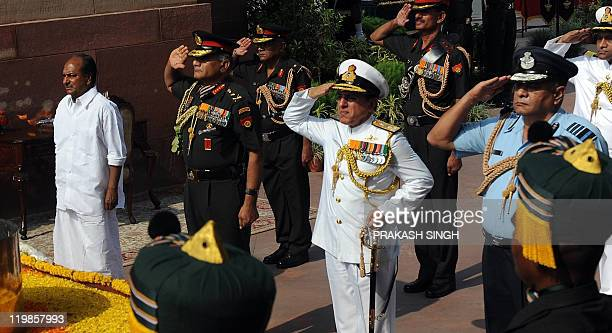India Defence Minister A K Antony Indian Army Chief General V K Singh vice chief of Navy D K Deewan and Indian Air Force chief air Marshal Pradeep...