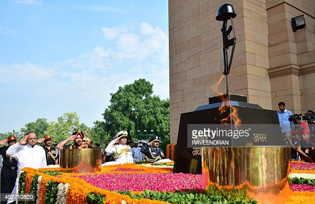 India Defence Minister Arun Jaitely Army Chief General Bikram Singh Chief of Navy Staff Admiral R K Dhowan and Indian Air Force Chief Air Marshal...