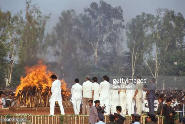 India Delhi funeral pyre in of Rajiv Ghandi