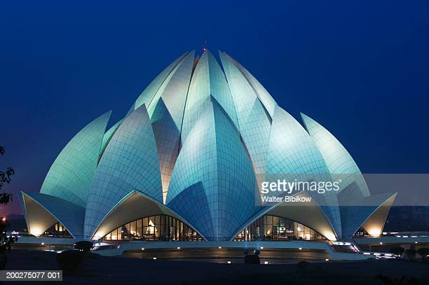 India, Delhi, Southeast Delhi, Lotus (Bahai) Temple exterior, night