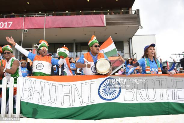 India fans celebrate during the SemiFinal ICC Women's World Cup 2017 match between Australia and India at The 3aaa County Ground on July 20 2017 in...