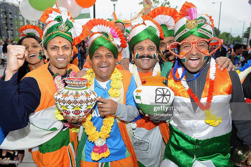 India fans during the ICC Champions Trophy Final match between England and India at Edgbaston on June 23, 2013 in Birmingham, England.