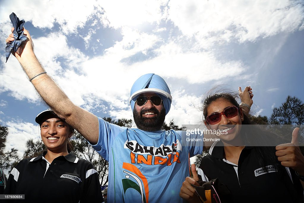 India fans show their support during day five of the 2012 Champions Trophy at the State Netball and Hockey Centre on December 8, 2012 in Melbourne, Australia.