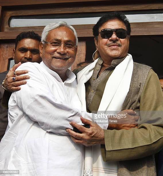 India film actor and BJP leader Shatrughan Sinha meets JD leader and Bihar Chief Minister Nitish Kumar a day after the grand alliance swept the state...