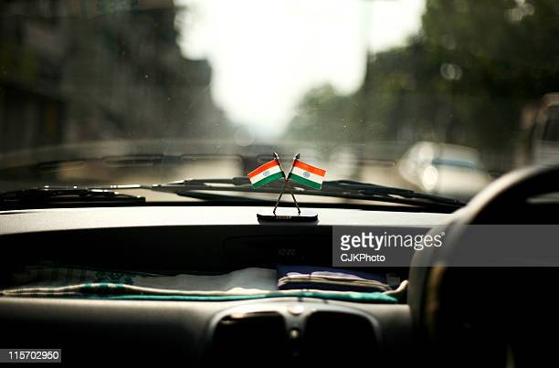 India Flags in Car