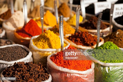 India, Goa, Anjuna, plastic bags of spices on market
