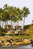 India, Goa, beach huts on Palolem Beach