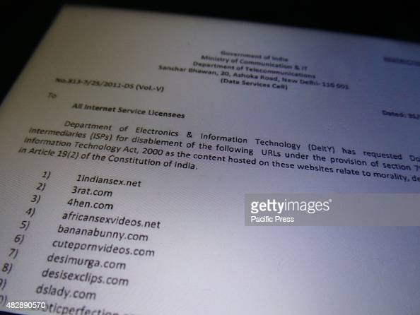 India government has banned access to 857 adult pornography websites by order no 8137/25/2011DS the Department of Electronics and Information...