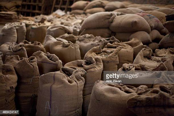 India, Gundlupet, bags of coffee beans