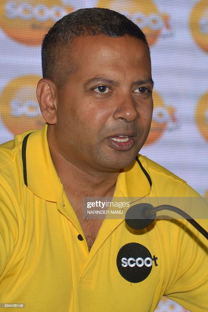 India head Bharath Mahadevan of Scoot, Singapore Airlines' low-cost airline, addresses the media during a press conference at a hotel in Amritsar on May 26, 2016. Mahadevan said the airline launched its direct flight services to Singapore from Amritsar, which fly three days a week, from 24 May. / AFP / NARINDER