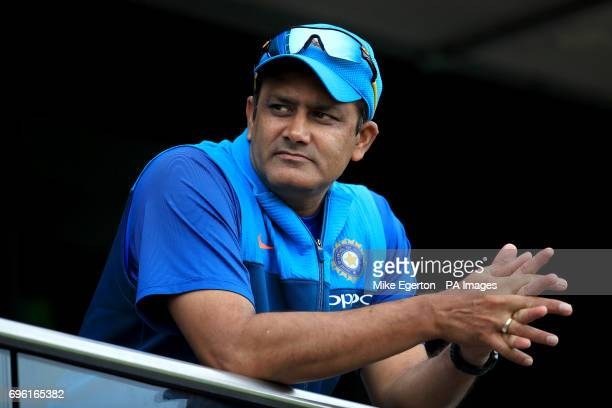 India head coach Anil Kumble before the ICC Champions Trophy semifinal match at Edgbaston Birmingham