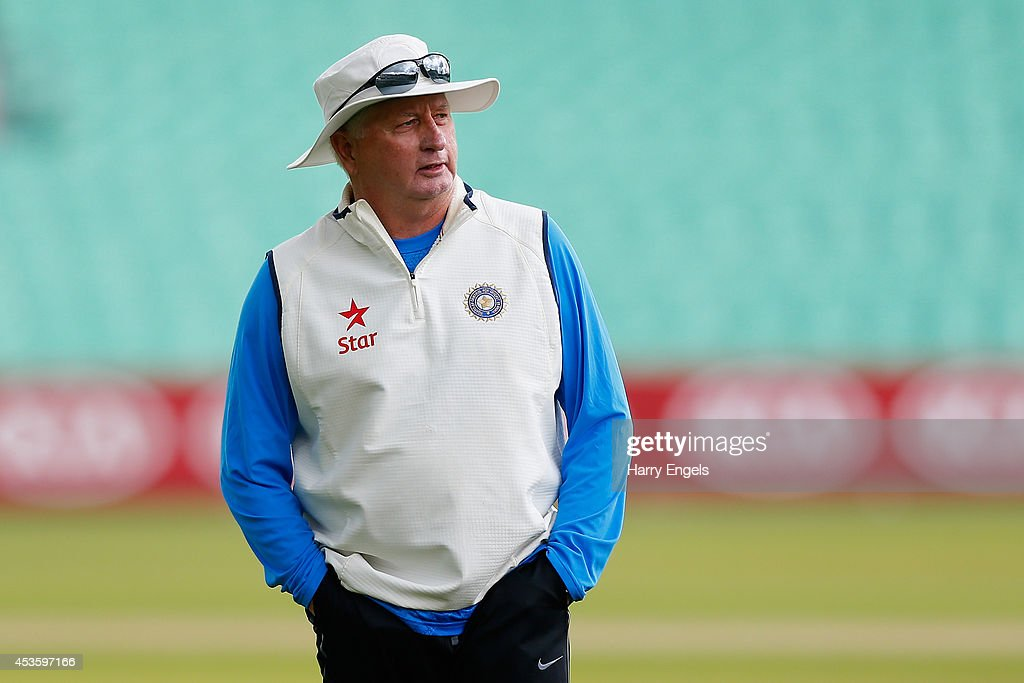 India head coach <a gi-track='captionPersonalityLinkClicked' href=/galleries/search?phrase=Duncan+Fletcher&family=editorial&specificpeople=202105 ng-click='$event.stopPropagation()'>Duncan Fletcher</a> looks on before rain halts practice during an India Nets Session at The Kia Oval on August 14, 2014 in London, England.