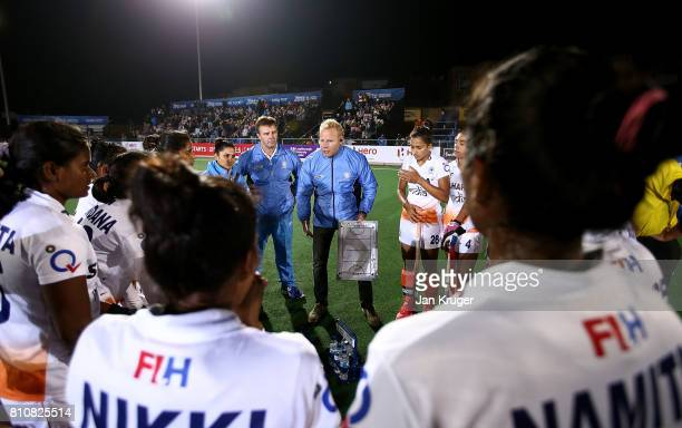 India head coach Sjoerd Marijne talks to his players during day 1 of the FIH Hockey World League Semi Finals Pool B match between South Africa and...