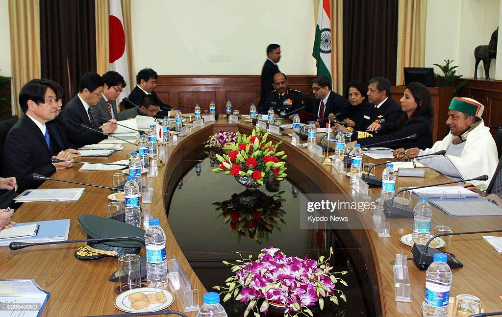 NEW DELHI, India - Indian Defense Minister A.K. Antony (far R) and Japanese Defense Minister Itsunori Onodera (far L) hold talks in New Delhi on Jan. 6, 2014.