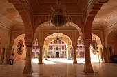 India, Jaipur, City Palace, arched interior