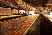 India, Jaipur, Sanganer, workers making silk screen printed textiles
