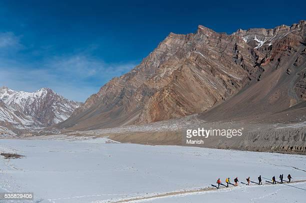 India, Jammu and Kashmir, Zanskar, Group of trekkers in mountains
