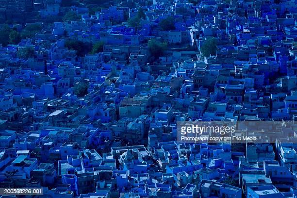 India, Jodhpur, cityscape, elevated view, dusk