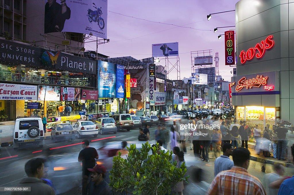 India, Karnataka, Bangalore, Brigade Road, dusk (long exposure)