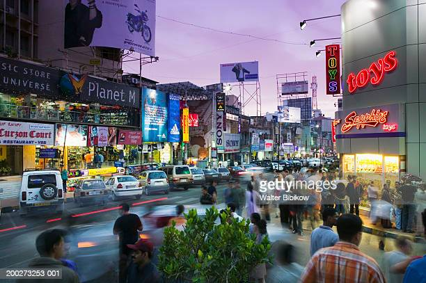 India, Karnataka, Bangalore, Brigade Road, dusk (long exposure)