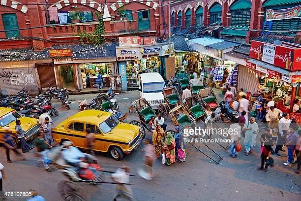 India, Kolkata, rickshaw on the street