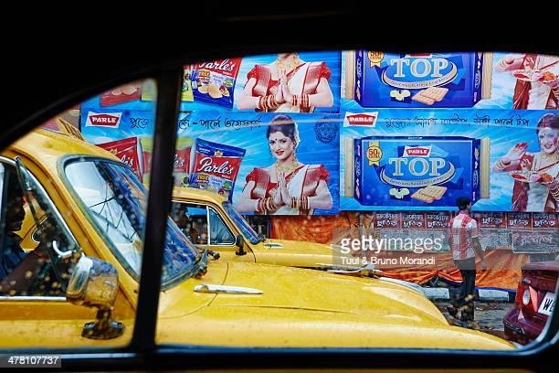 India, Kolkata, Yellow Ambassador taxis